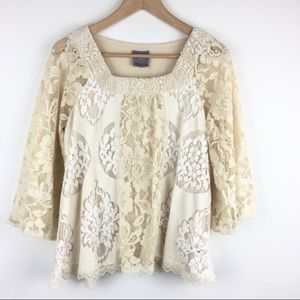 Anthro | Vanessa Virginia Boho Flowy Lace Blouse